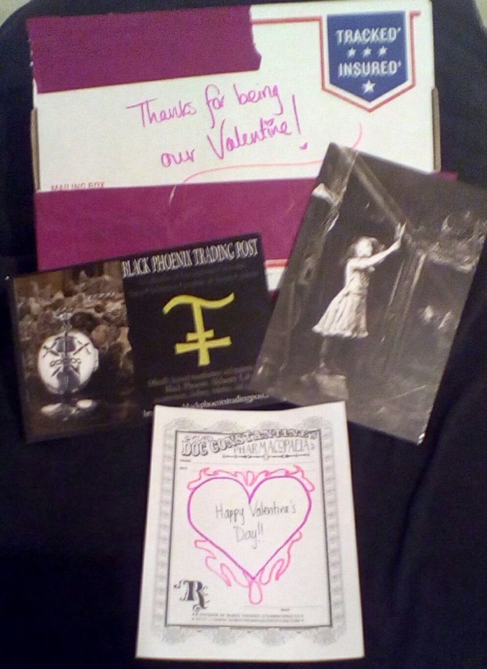 He wants me to thank them for the Valentine and postcard.